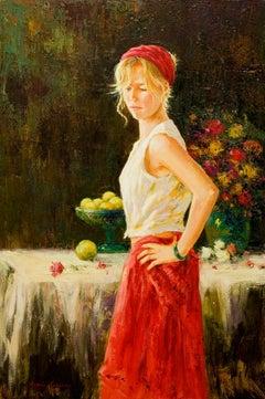"""Red Skirt (Falda Roja)"" by Roman Frances 31"" x 21"" Oil on Canvas"