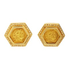 Roman Gold Coin Earclips