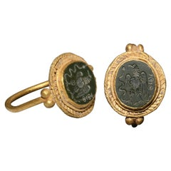 Roman Gold Ring with Eagle Gemstone, 4th Century AD, Provenance
