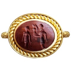 Roman Intaglio '1st Century A.D.' Gold Ring Depicting Athena with a Winged Nike