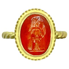 Roman Intaglio '1st Century A.D.' Ring on Carnelian, Depicting Goddess Athena