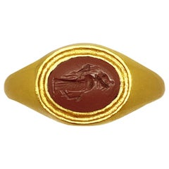 Roman Intaglio '1st century B.C' on Jasper 18 Karat Gold Ring Depicting Fortuna