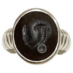 Roman Intaglio on Agate Sterling Silver Ring Depicting Horn of Plenty and an Ear