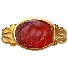 Roman Intaglio on Carnelian '2nd-3rd century A.D.' Ring, Depicting an Horse