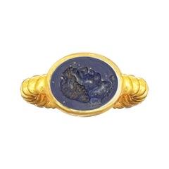 Roman Intaglio on Lapis Lazuli '1st cent AD' 18 Kt Gold Ring Depicting Apollo