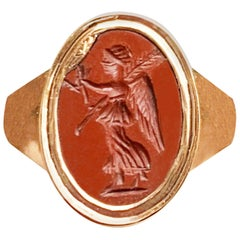 Roman Intaglio depicting Nike (Victory-2nd cent AD) 18 Kt Rose Gold Ring