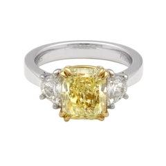 Roman & Jules Platinum and 18 Karat '3.52Ct' Fancy Yellow 3-Stone Diamond Ring