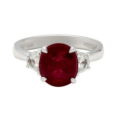 Roman & Jules Platinum Three Stone '3.46 Ct' Oval Ruby & Half Moon Diamond Ring