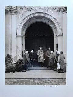 Russian European Women In Front of Church Facade, Sepia Toned Photograph