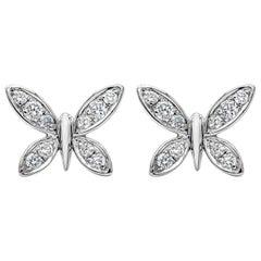 Roman Malakov 0.25 Carat Round Diamond Butterfly Stud Earrings
