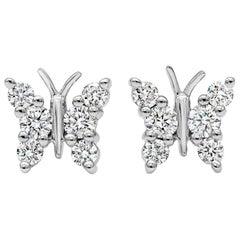 Roman Malakov 0.31 Carat Round Diamond Butterfly Stud Earrings