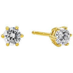 Roman Malakov 0.39 Carat Round Diamond Stud Earrings in Yellow Gold