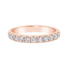 Roman Malakov 0.56 Carat Round Diamond Rose Gold Half-Way Wedding Band