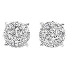 Roman Malakov 0.66 Carat Cluster Diamond Stud Earrings