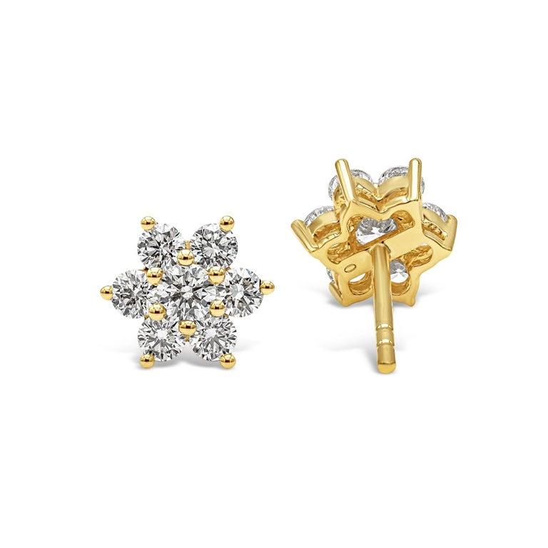 Contemporary Roman Malakov, 0.66 Carat Round Diamond Flower Stud Earrings For Sale