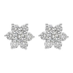 Roman Malakov 0.66 Carat Round Diamond Flower Stud Earrings