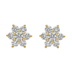 Roman Malakov, 0.66 Carat Round Diamond Flower Stud Earrings