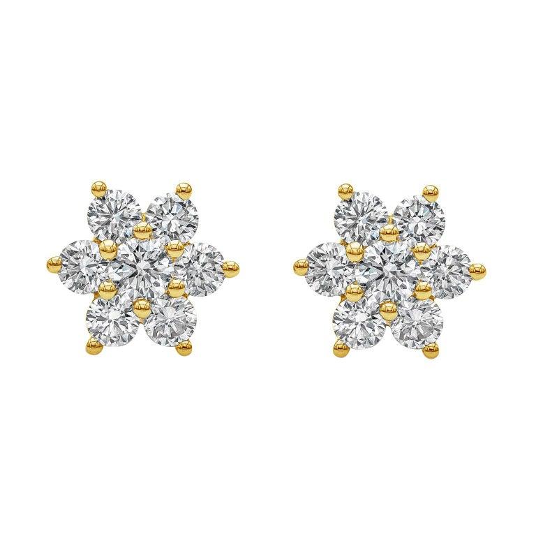 Roman Malakov, 0.66 Carat Round Diamond Flower Stud Earrings For Sale