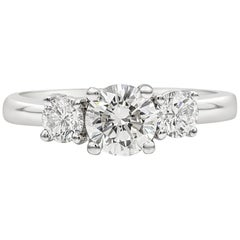 Roman Malakov 0.70 Carat Round Diamond Three-Stone Engagement Ring