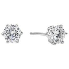 Roman Malakov, 0.75 Carat Round Diamond Six Prong Stud Earrings