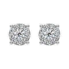 Roman Malakov, 0.76 Carat Round Diamond Cluster Stud Earrings