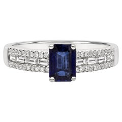 Roman Malakov 0.80 Carat Blue Sapphire and Diamond Pave Engagement Ring