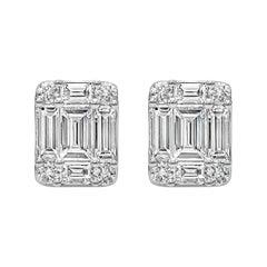 Roman Malakov, 0.96 Carat Baguette and Round Diamond Cluster Stud Earrings