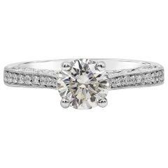 Roman Malakov 1 Carat GIA Certified Round Diamond Vintage Style Engagement Ring