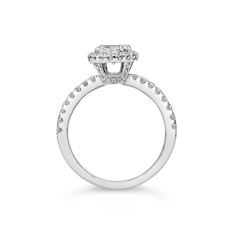Contemporary Roman Malakov 1.05 Carat Oval Cut Diamond Halo Engagement Ring For Sale