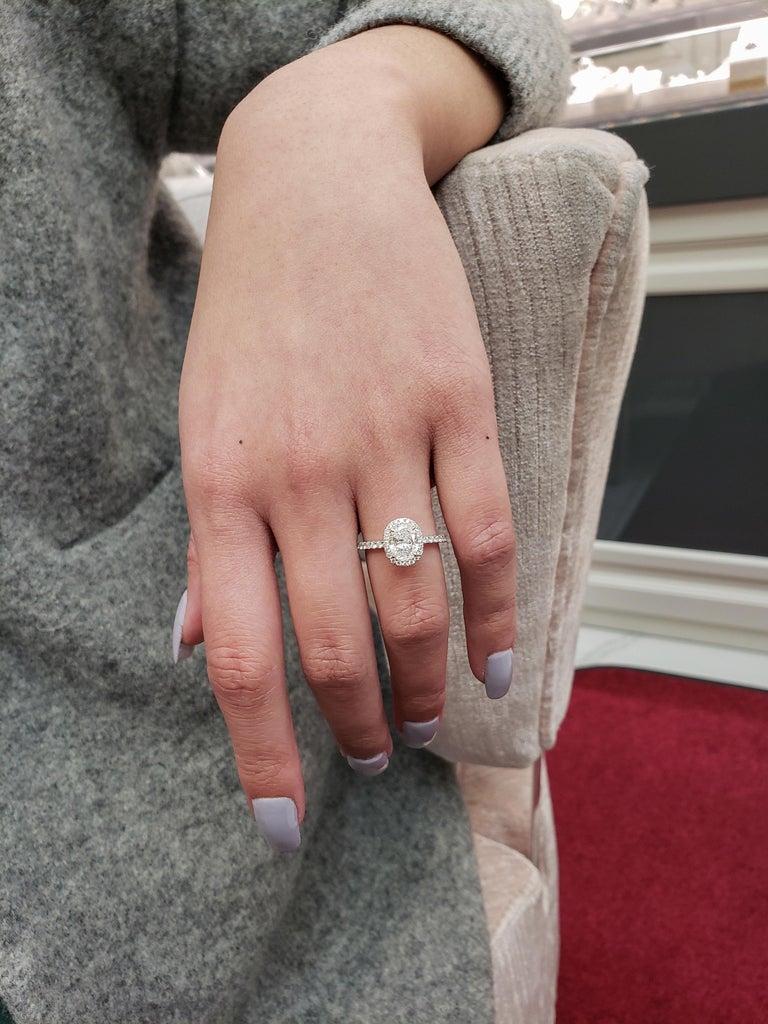 Women's Roman Malakov 1.05 Carat Oval Cut Diamond Halo Engagement Ring For Sale