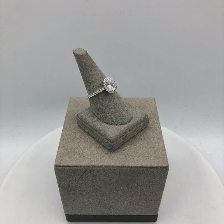Roman Malakov 1.05 Carat Oval Cut Diamond Halo Engagement Ring For Sale 2