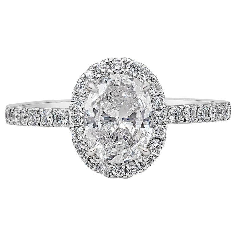 Roman Malakov 1.05 Carat Oval Cut Diamond Halo Engagement Ring For Sale