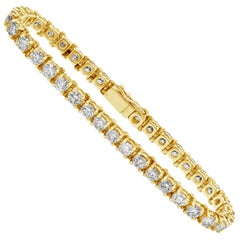 Roman Malakov 11 Carat Diamond Tennis Bracelet in 14 Karat Yellow Gold