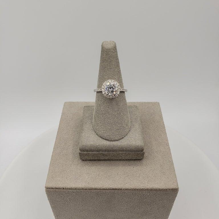 Women's Roman Malakov 1.22 Carat Round Diamond Halo Engagement Ring For Sale