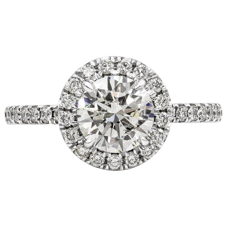 Roman Malakov 1.22 Carat Round Diamond Halo Engagement Ring For Sale