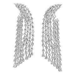 Roman Malakov 13.29 Carat Pear Shape Diamond Waterfall Drop Earrings