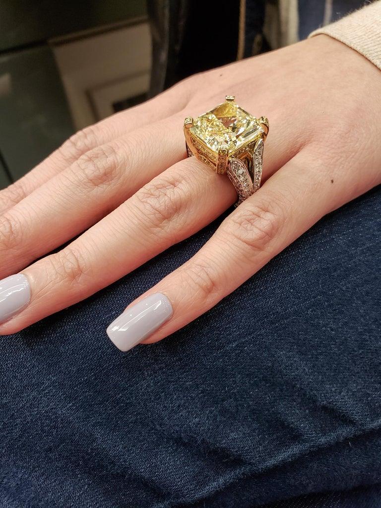 Radiant Cut Roman Malakov 13.95 Carat Yellow Diamond Split-Shank Engagement Ring, GIA For Sale