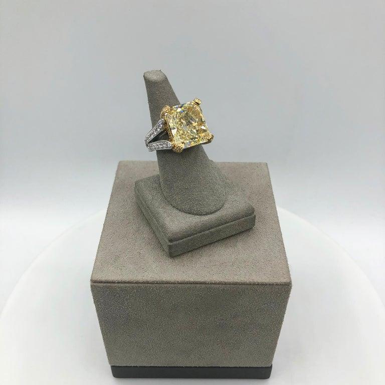 Roman Malakov 13.95 Carat Yellow Diamond Split-Shank Engagement Ring, GIA For Sale 1