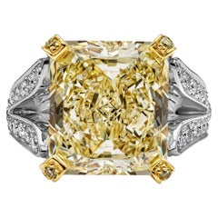 Roman Malakov 13.95 Carat Yellow Diamond Split-Shank Engagement Ring, GIA