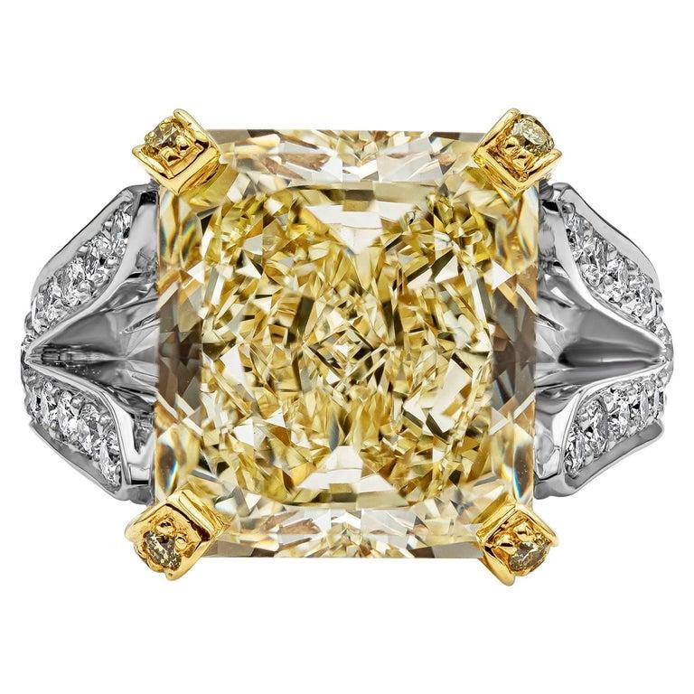 Roman Malakov 13.95 Carat Yellow Diamond Split-Shank Engagement Ring, GIA For Sale