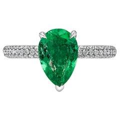 Roman Malakov 1.42 Carat Pear Shape Emerald and Diamond Engagement Ring