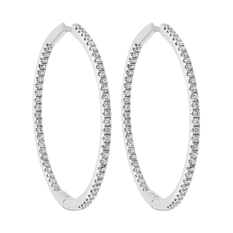 Roman Malakov 1.52 Carat Round Diamond Hoop Earrings