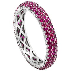 Roman Malakov 1.60 Carat Micro-Pave Set Ruby 3D Wedding Band