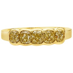 Roman Malakov 1.69 Carat Intense Yellow Diamond Five-Stone Wedding Band