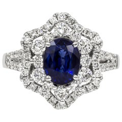 Roman Malakov 1.75 Carat Blue Sapphire and Diamond Flower Halo Engagement Ring