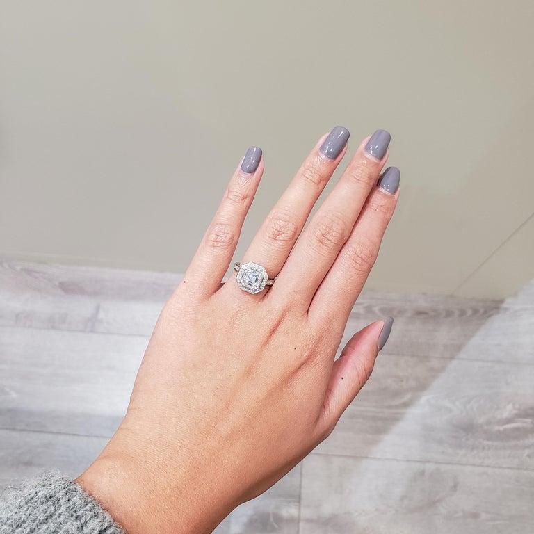 Contemporary Roman Malakov 2.07 Carat Asscher Cut Diamond Halo Engagement Ring For Sale