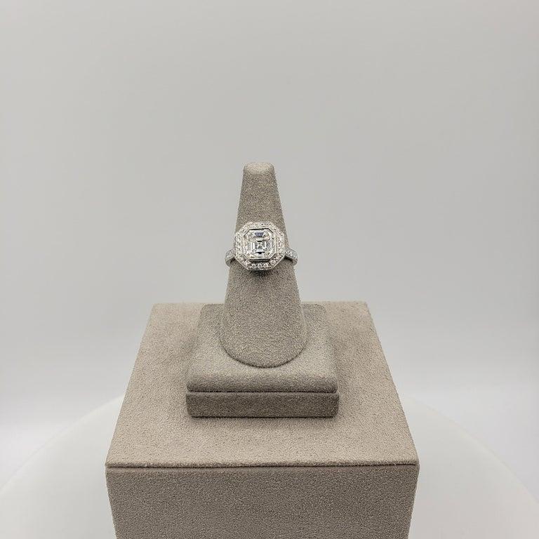 Women's Roman Malakov 2.07 Carat Asscher Cut Diamond Halo Engagement Ring For Sale