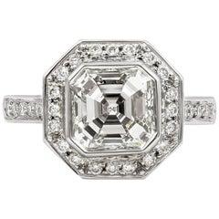 Roman Malakov 2.07 Carat Asscher Cut Diamond Halo Engagement Ring