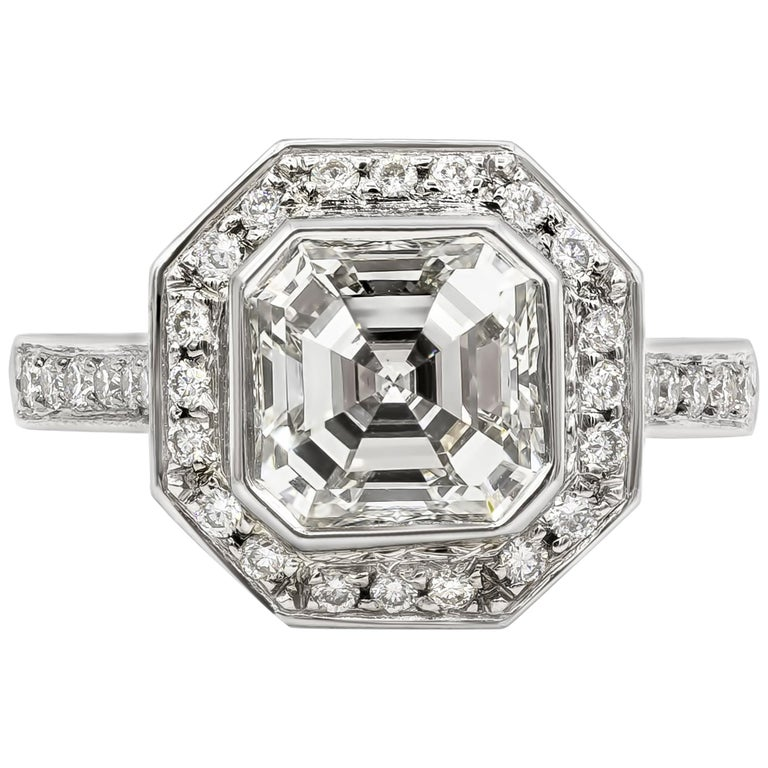 Roman Malakov 2.07 Carat Asscher Cut Diamond Halo Engagement Ring For Sale