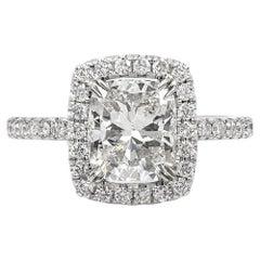 Roman Malakov 2.20 Carat Cushion Cut Diamond Halo Engagement Ring